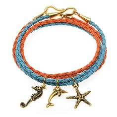 This fun, summer-time wrap bracelet set features faux leather braided cord in Orange and Turquoise with a few dangling ocean-themed charms by TierraCast. Let this bracelet set add a pop of bright color to your outfit. Bead Loom Bracelets, Bracelet Set, Leather Cord, Leather Bracelets, Orange And Turquoise, Beading Projects, Bracelet Tutorial, Summer Jewelry, Wire Wrapped Jewelry