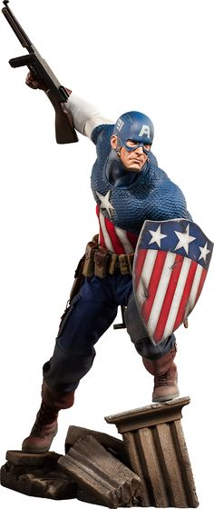 Captain America Premium Format Figure from Sideshow Collectibles is for fans of the Marvel superhero that fights Red Skull Comic Book Characters, Comic Character, Comic Books Art, Comic Art, Marvel Comics, Marvel Heroes, 3d Figures, Action Figures, Marvel Statues