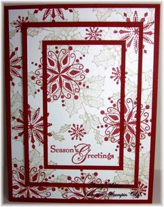 Triple layer stamping technique; SU Bells and Boughs, Snow Swirled, Triple Layer Christmas by discoverstampin - Cards and Paper Crafts at Splitcoaststampers
