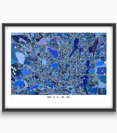 Planning a trip to Milan #Italy? Had a great #vacation there? Then this Milan map #art print is for you!  This city map has a modern, abstract art design made from of lots of little blue shapes. Each shape is actually a #city block or a piece of land - and these shapes and city #streets combine like a puzzle to form this #Milan #map.