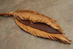 Brown and Chocolate Leather feathers  Purse by HollyHawkDesigns