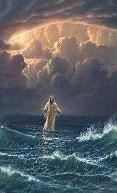 Pictures Of Jesus Christ, Religious Pictures, Names Of Jesus, Jesus Walk On Water, Jesus Drawings, Image Jesus, Images Instagram, Christian Artwork, Jesus Painting