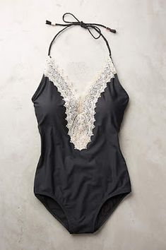46f8bf1cad Anthropologie Lace-Front Maillot Swimsuit One Piece