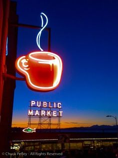 Red coffee sign over Seattle's Best coffee at the corner of Post Alley and Pine Street in the Pike Place Market Historical District. (Pic from almostoneaday.blogspot.com)