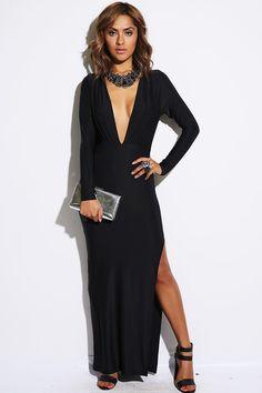 #1015store.com #fashion #style black long sleeve pleated deep v backless high slit evening maxi dress-$25.00