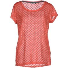 Only T-shirt ($27) ❤ liked on Polyvore featuring tops, t-shirts, coral, red short sleeve top, logo t shirts, wide neck t shirts, short sleeve tops and short sleeve t shirts