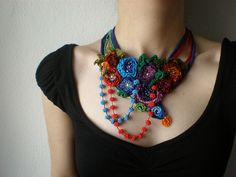 Ranunculus Thora ... Freeform Beaded Crochet Necklace by irregular expressions, via Flickr