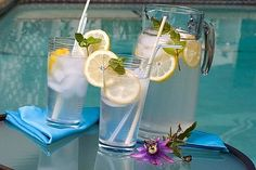 Sassy water recipe:  8 cups of water plus a little (2 Liters) 1 teaspoon grated ginger 1 cucumber, peeled and thinly sliced 1 lemon, very thinly sliced A Dozen or So small spearmint leaves.