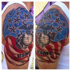 Patriotic and Moto Tattoo – Sgt. Back Tattoos, Skull Tattoos, Life Tattoos, Body Art Tattoos, Sleeve Tattoos, Cool Tattoos, Awesome Tattoos, Tatoos, 3d Tattoos