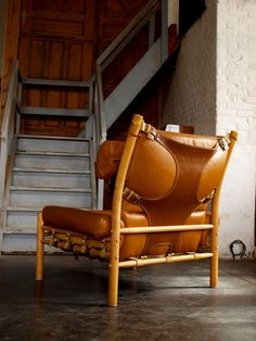 Buffalo Leather 'Inca' Chair by A. Norell
