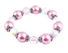 Bracelet - B207 - Fire Polished Glass and Glass Pearl Beads - Stretch ~ Pink Serenity Crystals, Inc.. $14.95. Save 50%!