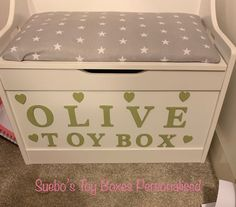 Excited to share the latest addition to my shop: Personalised Toy Box Navy Cupcakes, Personalised Toy Box, Box Cushion, Grey Elephant, Furniture Storage, Baby Feet, Pink Fabric, Toy Boxes, Pink Grey