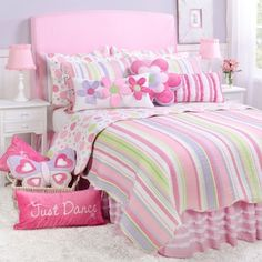 Merrill Girl Twin Quilt Set: Twin size includes one std sham Pre washed and luxury oversized Machine washable Decorative pillows and bed skirt also available Size: + Little Girl Bedrooms, Big Girl Rooms, Girls Bedroom, Bedroom Decor, Cozy Bedroom, Striped Quilt, Cute Bedroom Ideas, Ideas Hogar, Twin Quilt
