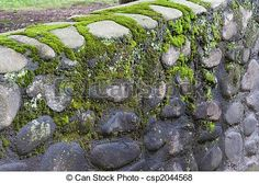 Moss and Rock fence around the house