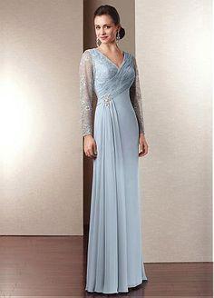 Gorgeous Chiffon Lace Sleeve Sheath V-neck Neckline Full Length Mother of the Bride Dress