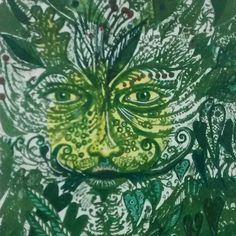 'Zoic Green Man' (detail) by Kit Boyd (lithograph with chine collee & watercolour)