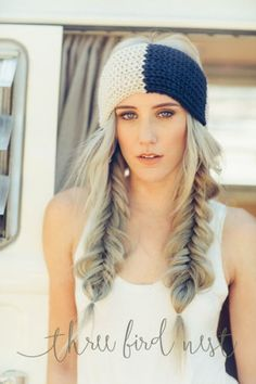 Braided Hair Knitted-Cozy-Striped-Earwarmer-Headband-in-Navy-Blue-and-Taupe