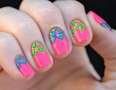 Pink neon tribal nail art