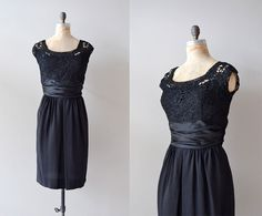 vintage 50s dress / black 1950s dress / A Little by DearGolden, $168.00