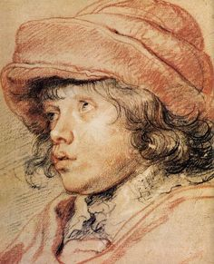 Peter Paul Rubens, Nicolaas Rubens Wearing a Red Felt Cap, ca. 1625-27. Red, black and white chalk. Albertina, Vienna.       Peter Paul Rubens' drawing of his son Nicolaas