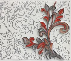 "3/8"" quilling paper on Glory Silver wallpaper. JUDiTH+ROLFE"