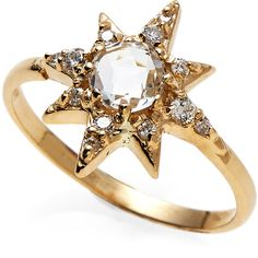 Anzie 14K Gold Star Ring ($700) ❤ liked on Polyvore featuring jewelry, rings, gold, star ring, gold jewellery, yellow gold rings, gold jewelry and blue jewelry