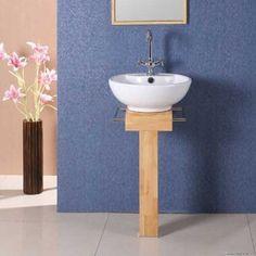 8886 Ceramic basin on wood stand    8886 Ceramic basin on wood stand   Ceramic basin mounted on wooden pedestal   Measures 410mm