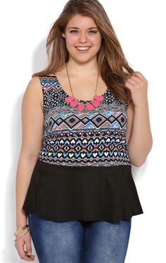 Plus Size Peplum Top with Tribal Print and Attached Necklace