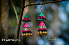 Jhumri style earring in terracotta Terracotta Jewellery Online, Terracotta Jewellery Designs, Funky Jewelry, Fabric Jewelry, Handmade Jewelry, Teracotta Jewellery, Terracotta Earrings, Hand Embroidery Patterns Flowers, Doll House Crafts