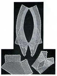 Crochet Pattern Collar and Cuff lace Set 1933 by PamoolahVintage