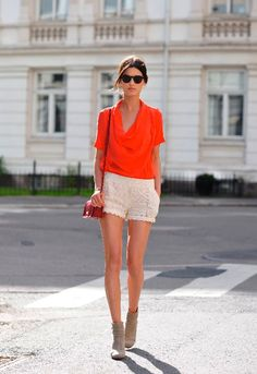 Wearing crochet shorts with style. I'm not into them unless they are worn elegantly with class. Guess thats what separates a trend from FASHION.