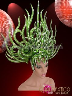 Charismatico Dancewear Store - CHARISMATICO Silver Accented Drag Queen's Flame Styled Green Glitter Diva Headdress, $170.00 (http://www.charismatico-dancewear.com/charismatico-silver-accented-drag-queens-flame-styled-green-glitter-diva-headdress/)