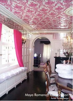 Check  out the Pink Damask Ceiling - not for the faint of heart...  Also, admire the mirrored window cornice - very funky!