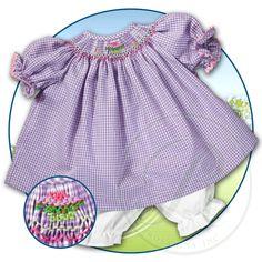 Cupcake Purple Gingham w/RicRac Smocked Doll Dress 14SP 5082DD