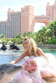 Bride at Atlantis Resort in the Bahamas with Dolphin. Paradise Island is the perfect place for any destination wedding. http://www.atlantis.com/groups/weddings.aspx