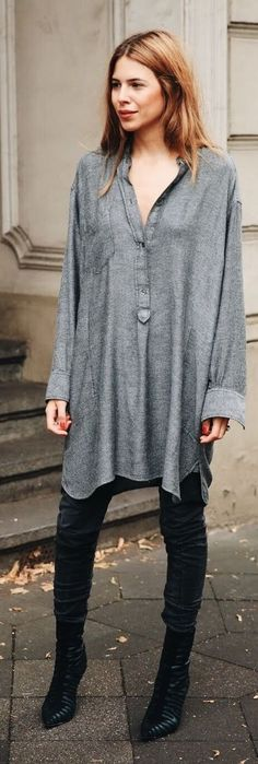 Grey Oversized Tunic Dress by MAJA WYH