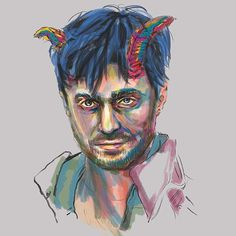 One of my #illustration of #danielradcliffe from the movie Horns. First time I've seen him in a different role from #harrypotter and I really liked it. #art #fanart #painting #digitalpainting #inktober #inktober2015 #colourful