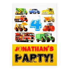 Big Trucks 4th Birthday Party Personalized Invitations