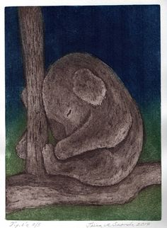 Life is tough / Original etching and aquatint by Tiina M. Suomela, Finland.