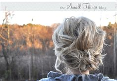 The Small Things Blog: Loose and to the Side Updo (best for shoulderish length hair that isn't super thick)