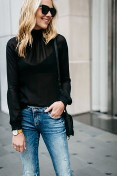 Fall Outfit, Black Long Sleeve Sheer Top, Denim Ripped Skinny Jeans