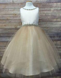 56d02f8d1fd Flower Girl Dress Satin Dress with Rhinestone Gem Neckline Champagne Party Dress  Special Occasion Dress