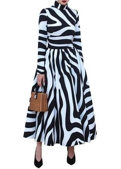 d4d2cbbdf87 Long Dress Women Winter Striped Maxi Dresses Zebra Print Female Office - L