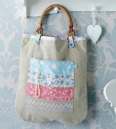Wooden Handled Linen Tote Bag