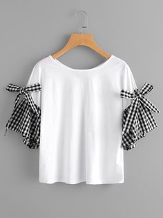 Shop Bow Tie Gingham Bell Sleeve Tee online. SheIn offers Bow Tie Gingham Bell Sleeve Tee & more to fit your fashionable needs.