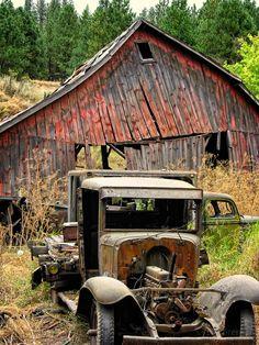 Abandoned Farm Trucks and Barn in Washington