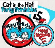 Dr. Seuss Cat in the Hat Party Favors  Printables Kit PRINTABLE
