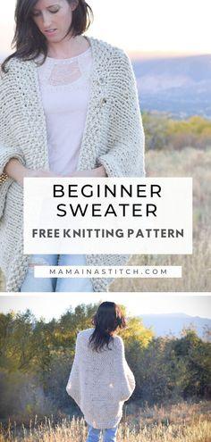 Beginner Knit Blanket Sweater Free Knitting Pattern If you've wa. Beginner Knit Blanket Sweater Free Knitting Pattern If you've wanted to make a sweater but they seem too. Easy Knit Blanket, Knitted Blankets, Easy Knitting, Knitting For Beginners, Knitting Sweaters, Diy Crochet Top Pattern, Diy Tops For Women, Knitting Projects, Knitting Ideas