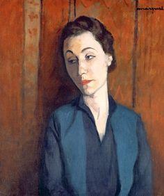 Albert Marquet (France 1875-1947), La femme en bleu (Portrait de Maria Lani), oil/canvas,1928. A close friend of Matisse, Marquet abandoned Fauvism for a naturalistic style. He was primarily a landscape painter. Collection Musée d'Art moderne de la Ville de Paris.