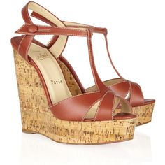 Christian Louboutin Marina Liege 140 leather wedge sandals ($675) ❤ liked on Polyvore